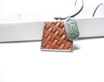 Love pendant-Geometric  leather  Necklace - Brown Block  Jewelry, Vintage look  leather