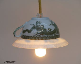 Flipped vintage Chinese teacup and saucer pendant light with green dragons