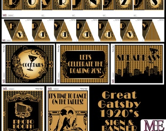 1920's Party, Gatsby Banners, Art Deco Signs, Flapper Birthday, 1920's signs, Party banners, Adult Party, 30th Birthday Decorations