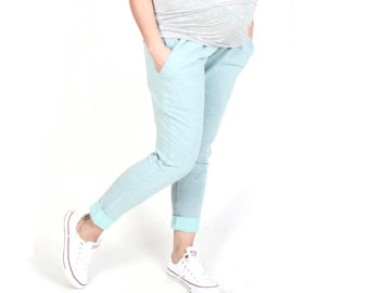 Maternity Trousers/Maternity Pants  Over-the-bump jersey Grey Mint