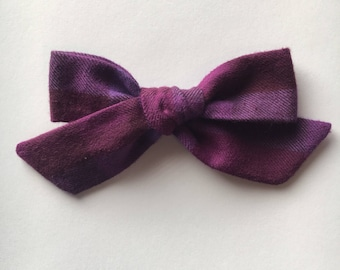 Large hand tied flannel school girl bow