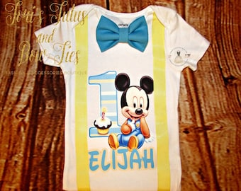 Baby Mickey Mouse 1st Birthday Outfit || Baby Mickey Mouse 1st Birthday Shirt || Mickey Mouse Bow Tie Suspenders