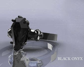 Nightfall - Skull Coffin Cut Ring - Choose your metal and stone