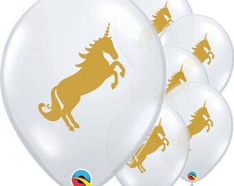 "Golden Unicorn Clear 12"" Balloons Latex Birthday Party Kids Gift Favours Tableware Gifts Decorations"