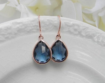 Rose Gold Earrings - Navy Blue Earrings - Rose Gold Bridesmaid Earrings -  Wedding  Earrings - Bridesmaid Gift - Dangle Earrings - Gift Idea