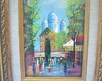 Vintage Framed ENAMEL on COPPER PAINTING by S. Richard - European Street Scene