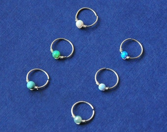 Opal  Nose Ring / Silver Nose Ring / Dainty Nose Ring / 22g Nose Ring  / Opal Nose Piercing / Simple Nose Ring / Thin Nose Ring / Thin Hoop
