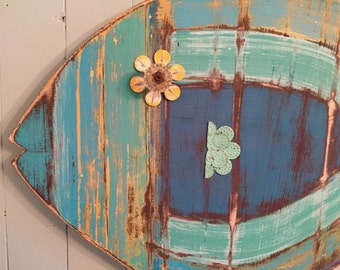 Fish Wall Art Wooden Sign Beach House One Sea Glass Colours Decor by CastawaysHall