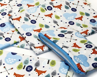 Cute Fox, Reusable Snack Bags, Zippered Pouch, Waterproof pouches, Pouch Set, Snack & Sandwich Bags, Back to school, Animal prints, vixen