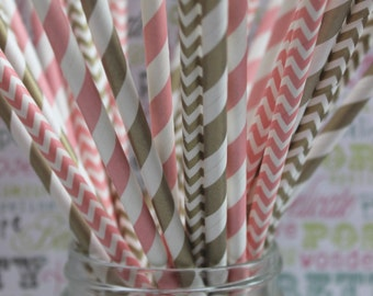 100 Gold and Blush Pink Party Straws in Stripes and Chevron - Blush Pink and Gold Wedding Straws, Birthday Straws