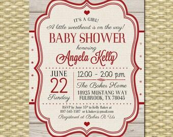 Valentine Baby Shower Invitation Vintage Valentine Little Sweetheart Baby Shower Rustic Shower Red Cream Valentine's Day Party , ANY EVENT
