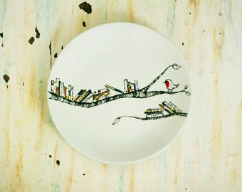 Hand painted porcelain plate - Book - A - Holic  with  robin