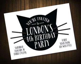 Cat Kitty Kitten Black Birthday Invitation Digital File DIY Invitation