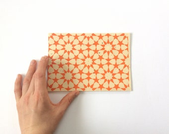 linocut - ZELLIGE // 5x7 art print // printmaking // block print // tessellation // Islamic geometric // orange // small // stars