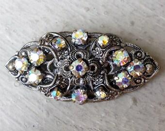 Small Rainbow Crystal Rhinestone Antiqued Silver Tone Filigree Brooch Bar Pin Aurora Borealis AB Bride Bridal Wedding Jewelry Jewellery Idea
