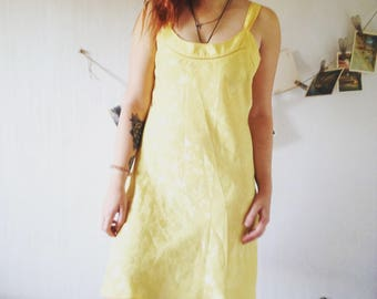 Vintage yellow small dress 38/M  SIZE 70s