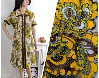 Vintage 60s Yellow Paisley Floral Textured A line Shift Dress Mad Men / UK 14 / EU 42 / US 10