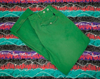Vintage Polo Ralph Lauren Flat Front Chino Pants Size 33/30 Blue Pony Broken In Green PRL RL67