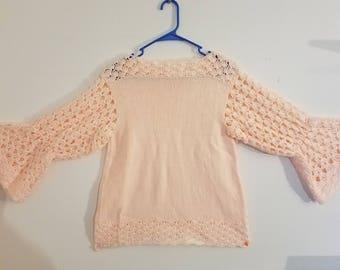 Crochet Peach Long-sleeve Top