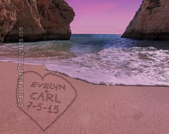 Names in the Sand - Personalized Photo - Romantic Beach Decor - Personalized Wedding Gift - Anniversary Gift pp83