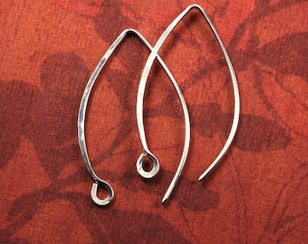 Long Earwires Sterling Silver Hammered Handmade, Artisan Ear wires: 6 pair