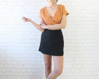 High Waisted Linen Wrap Skirt. Ladies Black Linen Mini Wrap Skirt.