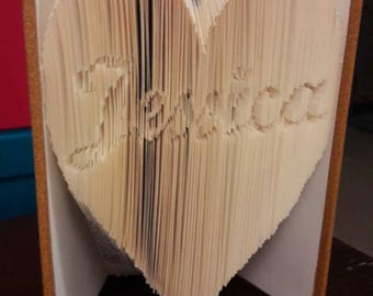 "Book Style ""Cut & Fold"" folded heart personalized name"