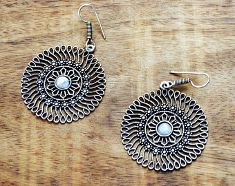 Mandala Earrings, Silver Tribal Earrings, Silver Hoop Earrings, Indian Earrings, Ethnic Earrings, Boho Earrings, Indian Jewellery