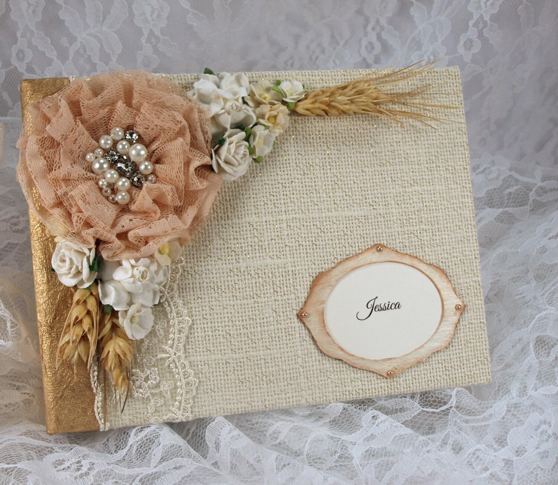 Rustic Burlap and Lace Wedding Album Personalized Wedding