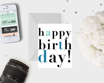 Happy Birthday Colour Block Card