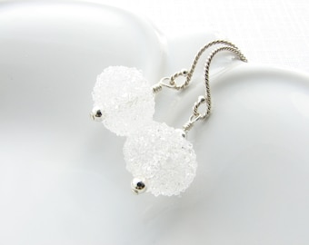 Crystal and Sterling Silver Dangle Earrings Globe Glass Beaded Bridal Earrings Wedding Accessories Drop Under 25 Gift White Snowball