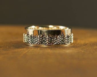 Silver Ring Pine Tree, Pine, Forest Ring, Tree Ring, Tree Band, Tree Jewelry, Woodland Ring, Woodland Jewelry,  Forest Jewelry, Spruce, Tree