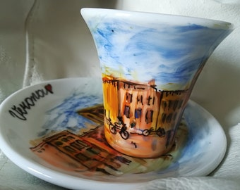 Hand painted coffee cup.