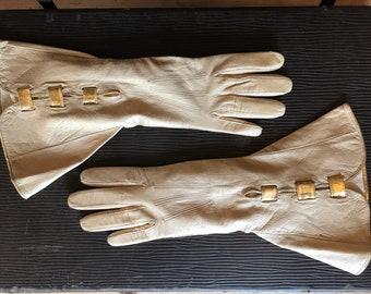 Amazing bone kid leather gauntlet Art Deco vintage gloves with gold trim c.1930s - xs