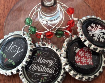 CHRISTMAS WINE Charms, Wine Charms, Wine Favors, Merry Christmas Favors, Merry Christmas Wine Charms, Christmas Party Favors, SnowFlake Wine