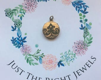 Pretty Vintage Rolled Gold Locket with Scroll Pattern