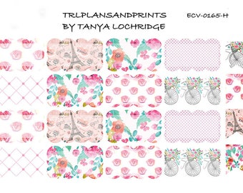 ECV-0165-H Stickers - Paris? Mais Oui! Boho/Shabby Chic/Vintage Scalloped Half-Box - Erin Condren, Happy Planner, Recollections, Notebook
