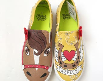 Pony shoes - pony gift - pony birthday - pony party - painted shoes - horse lover - pony theme - horse gift - custom shoes - gift for kids