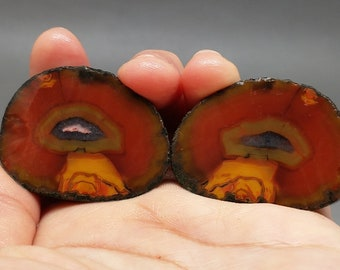 Pair of Rough(Unpolished)Agate Nodule Specimen China/Chinese Fighting Blood Agate/For Making Jewelry & Collecting Xuanhua Hebei China XH-096