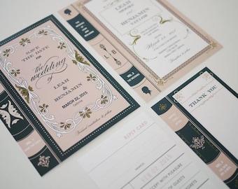 Vintage Library Book Wedding Invitation Printable Set of 4