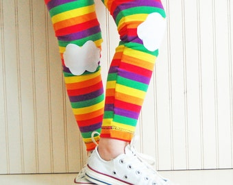 Girls Leggings. Rainbow Leggings. Gift for Girl. Kids Leggings. Rainbow Tights. Toddler Leggings. Knee Patch Leggings. Striped Leggings.