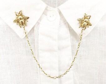 bee pearl collar pins, bee collar pins, sweater pins, collar chain, collar brooch, lapel pin, bee pin, pearl brooch, bee brooch