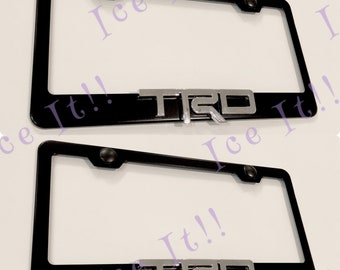 Captivating 2X 3D Toyota TRD 4X4 Stainless Steel License Plate Frame Rust Free W/ Caps