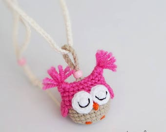 Crochet Necklace With Owl Pendant. Cool Gift For Girls. Bookmark. Children Jewelry Kids. Back To School Present. Christmas Gift Idea. Pink.