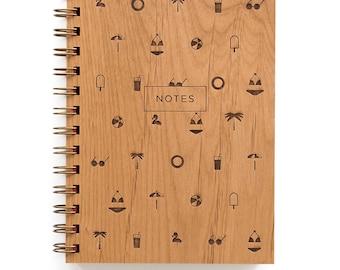 Beach Notes - Lasercut Wood Lined Journal