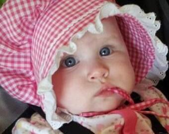 Deep Pink Gingham Baby or Toddler Bonnet Sunhat Sunbonnet sizes newborn,3,6,9,12,18,24 mo.2T,3T,4T