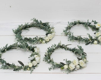 One white peony eucalyptus flower crown Floral accessories Wedding hair piece Bridal headpiece  Bridesmaid Outdoor Floral wreath Flower girl