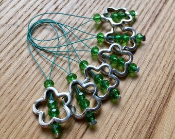 Knitting Stitch Markers, Snag Free Stitch Markers Set of 6, Green Crystal, Flower Charm, Knitting Tools, Gift for Knitters, Yarn Lover