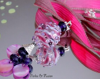 Necklace long necklace with glass handmade Lampwork and silk * pinky * pink/violet - dyed silk-handmade glass Lampwork necklace-long murano glass