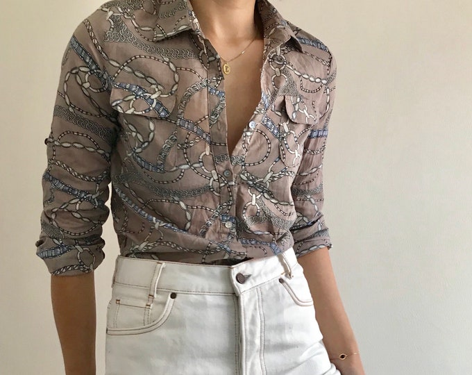 90's Taupe Cotton Button Up